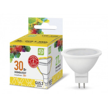 Лампа светодиодная ASD MR16 GU5.3 220V 3W 3000К 2K 51x50 матов. пластик/алюм standard 2248