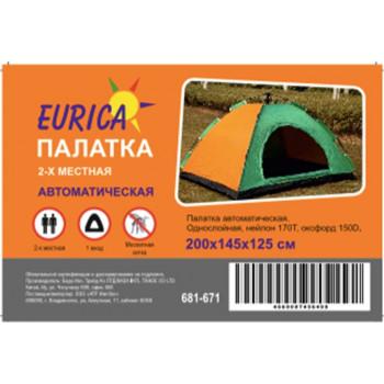 Палатка 2-мест. автомат. (200*145*125см) 1-сл., нейлон 170T/оксфорд150D/дуга8,5мм, моск.сетка Eurica