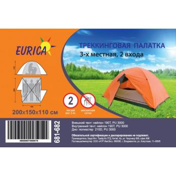 Палатка 3-мест. (200*150*110см) 2-сл., моск. сетка, нейлон 190Т, 3000PU, вес 2кг Eurica