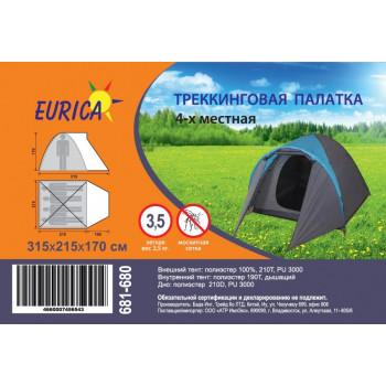 Палатка 4-мест. (100*215см)*215 , h=170, 2-сл., нейлон 210T, моск. сетка, вес 3,5кг Eurica