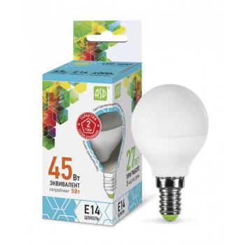 Лампа светодиодная ASD Шар P45 E14 5W 4000K 4K 78x45 пластик/алюм standard 2149