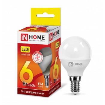 Лампа светодиодная ASD/inHome VC шар P45 E14 6W(480lm) 3000К 3K (без пульсации) 0501
