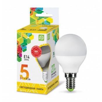 Лампа светодиодная ASD Шар P45 E14 5W 3000K 2K 78x45 пластик/алюм standard 2125