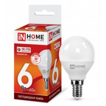 Лампа светодиодная ASD/inHome VC шар P45 E14 6W(540lm) 6500К 6K 83x45 (без пульсации) 0613