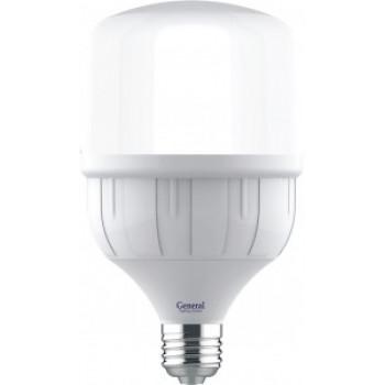 Лампа светодиодная General высокомощная E27 27W(2200lm) 4000K 4K матов. 270° 136x80мм (замена ДРВ) 661016