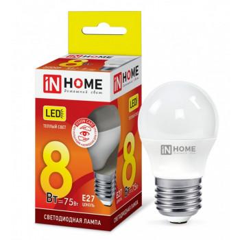 Лампа светодиодная ASD/inHome VC шар P45 E27 8W(600lm) 3000К 3K (без пульсации) 0563