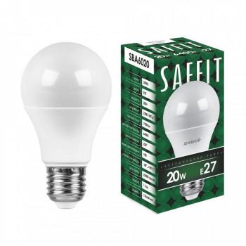 Лампа светодиодная Saffit ЛОН А60 E27 20W(1900Lm) 6400K 6K матовая 112x60 SBA6020 55015