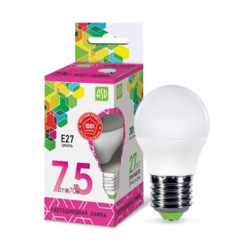 Лампа светодиодная ASD Шар P45 E27 7.5W 6500К 6K 78x45 пластик/алюм standard 9154