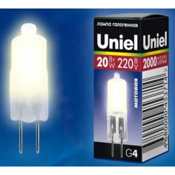 Галогенная лампа Uniel JC G4 220V 20W матовая JC-220/20/G4 FR