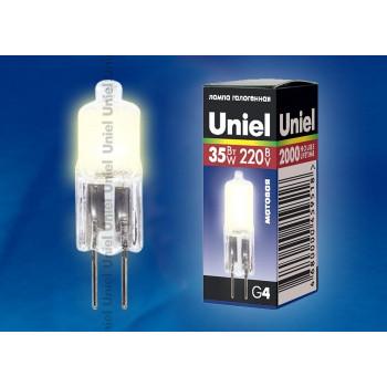 Лампа галогенная Uniel JC G4 220V 35W матовая JC-220/35/G4 FR