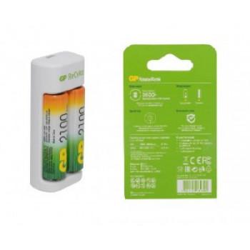 Зарядное устройство GP R03/R6x1/2 (300mA) (+акк. 2xR6x2100mAh) micro-USB, кабель в/к E211210AAHC-2CRB2