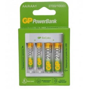 Зарядное устройство GP R03/R6x2/4 (300mA) (+акк. 2R6x2700mAh+2R03x1000mAh) micro-USB, кабель в/к, E411270/100-2CRB4